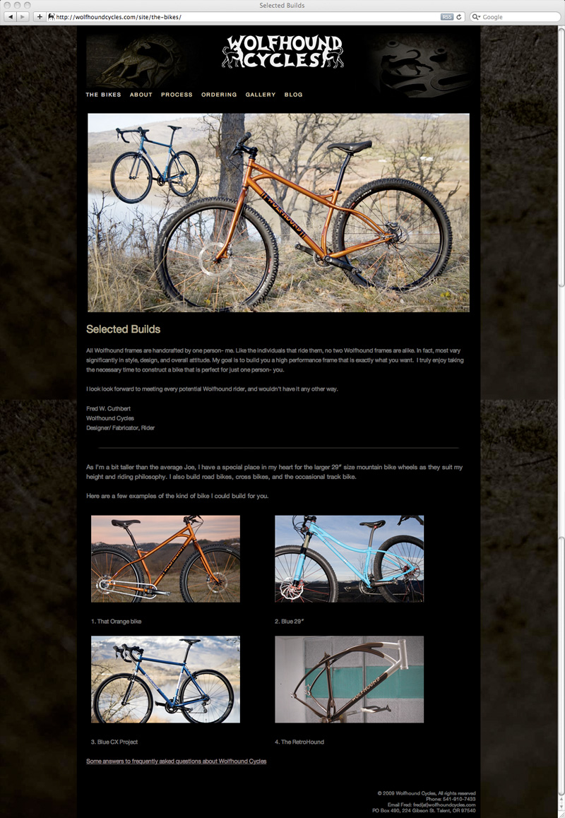 Wolfhound Cycles builds page